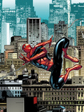 The Amazing Spider-Man No.666: Spider-Man Swinging Through City Buildings Plastic Sign by Stefano Caselli