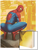 Spider-Man In the City, Crawling on Gargoyle Wood Print