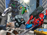 Spider-Man, Rhino, Green Goblin, and Doctor Octopus in the City Plastic Sign