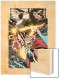 Thor: First Thunder No.5: Thor with Mjolnir and Lightning Wood Print by Tan Eng Huat
