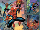 Spider-Man Family No.1 Cover: Spider-Girl, Spider-Man, Arana and Spider Woman Fighting Wall Decal by Ron Lim