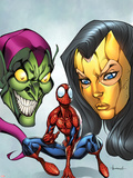 Marvel Adventures Spider-Man No.18 Cover: Spider-Man, Madame Masque, and Green Goblin Wall Decal by Ale Garza