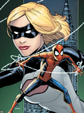 Marvel Adventures Spider-Man No.8 Cover: Spider-Man and Emma Frost Posing Plastic Sign by Patrick Scherberger