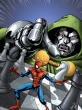 Marvel Adventures Spider-Man No.9 Cover: Spider-Man and Dr. Doom Plastic Sign by Mike Norton