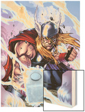 Thor: Heaven and Earth No.3 Cover: Thor Smashing with Mjonir Wood Print by Agustin Padilla