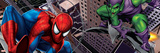 Spider-Man and Green Goblin Fighting and Flying in the City Wall Decal