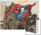 Spider-Man Swinging In the City Wood Print