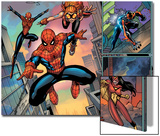 Spider-Man Family No.1 Cover: Spider-Girl, Spider-Man, Arana and Spider Woman Fighting Print by Ron Lim