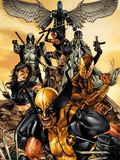 Wolverine: The Road to Hell No.1 Cover: Wolverine, X-23, Deadpool, Psylocke, Archangel, & Fantomax Plastic Sign by Mico Suayan