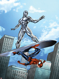Marvel Adventures Spider-Man No.19 Cover: Silver Surfer and Spider-Man on the Silver Surf Board Plastic Sign by Ale Garza