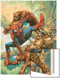 Marvel Age Spider-Man No.14 Cover: Spider-Man and Kraven the Hunter Fighting and Flying Wood Print by Roger Cruz