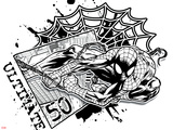 Spider-Man Badge: City, Web, and Splatter, Spider-Man Swinging Plastic Sign