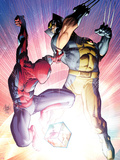 Astonishing Spider-Man & Wolverine No.3 Cover: Spider-Man and Wolverine Fighting Plastic Sign by Adam Kubert