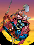 Marvel Age Spider-Man Team Up No.4 Cover: Spider-Man and Thor Plastic Sign by Randy Green