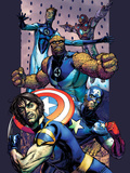 Ultimate Extinction No.2 Cover: Captain America, Thing, Mr. Fantastic and Iron Man Fighting Art by Brandon Peterson