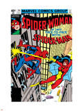 Spider-Woman No.20 Cover: Spider Woman and Spider-Man Fighting Plastic Sign by Frank Springer