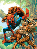 Marvel Age Spider-Man No.14 Cover: Spider-Man and Kraven the Hunter Fighting and Flying Plastic Sign by Roger Cruz