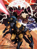 Origins of Marvel Comics: X-Men No.1 Cover: Wolverine, Storm, Cyclops, and Magneto Running Plastic Sign by Mike Del Mundo