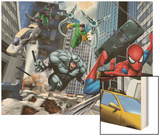Spider-Man, Rhino, Green Goblin, and Doctor Octopus in the City Wood Print