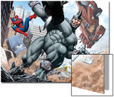 Spider-Man and Rhino Fighting - Battle Scene Prints