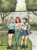 Spider-Man Loves Mary Jane Season 2 No.4 Cover: Mary Jane Watson, Stacy, Gwen, and Liz Allen Plastic Sign by Terry Moore