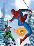 Spider-Man and Green Goblin Fighting in the City; Throwing Flaming Pumpkin Plastic Sign