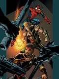 Ultimate Spider-Man No.85 Cover: Spider-Man, Shang-Chi and Iron Fist Plastic Sign by Mark Bagley