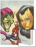 Marvel Adventures Spider-Man No.18 Cover: Spider-Man, Madame Masque, and Green Goblin Wood Print by Ale Garza