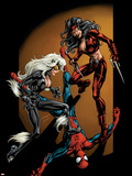 Ultimate Spider-Man No.84 Cover: Spider-Man, Black Cat and Elektra Plastic Sign by Mark Bagley