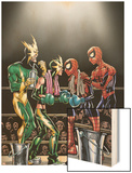 Spider-Girl No.81 Cover: Spider-Girl, Spider-Man, Electro and Aftershock Wood Print by Ron Frenz