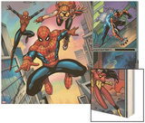 Spider-Man Family No.1 Cover: Spider-Girl, Spider-Man, Arana and Spider Woman Fighting Wood Print by Ron Lim