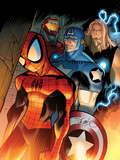 Ultimate Spider-Man No.151 Cover: Spider-Man, Captain America, Thor, and Iron Man Standing Plastic Sign by David LaFuente