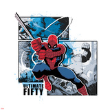 Spider-Man Badge: Battle Against Rhino Panels and Blue Splatters, Spider-Man Swinging Wall Decal