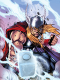 Thor: Heaven and Earth No.3 Cover: Thor Smashing with Mjonir Plastic Sign by Agustin Padilla