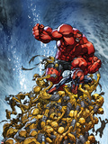 Avenging Spider-Man No.2 Cover: Spider-Man and Red Hulk Fighting Moloids Plastic Sign by Joe Madureira