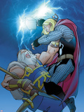 Thor No.619 Cover: Thor and Odin Fighting Wall Decal by Pasqual Ferry