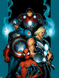 Ultimate Spider-Man No.70 Cover: Spider-Man, Thor, Captain America, Iron Man and Ultimates Plastic Sign by Mark Bagley