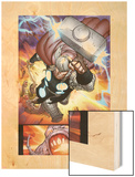 The Mighty Thor No.10: Thor Flying with Mjolnir Wood Print by Pepe Larraz