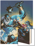 Marvel Adventures Super Heroes No.13 Cover: Thor Fighting and Jumping Wood Print by Reilly Brown