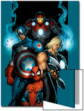 Ultimate Spider-Man No.70 Cover: Spider-Man, Thor, Captain America, Iron Man and Ultimates Prints by Mark Bagley