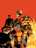 Astonishing X-Men No.13 Cover: Cyclops, Wolverine, Colossus and Shadowcat Plastic Sign by John Cassaday
