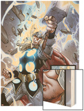 The Mighty Thor No.10: Panels with Thor and Mjolnir Wood Print by Pepe Larraz
