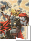The Mighty Thor No.11 Cover: Thor Standing with Mjonir Wood Print by Dale Keown