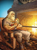 The Mighty Thor No.7: Odin Sitting with Thor in his Arms Autocollant mural par Pasqual Ferry