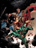 Thor No.84 Cover: Thor and Loki Fighting and Flying Plastic Sign by Steve Epting