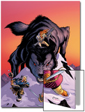 Warriors Three No.4 Cover: Volstaag, Hogun and Fandral Fighting a Wolf in the Snow Poster by Amanda Conner