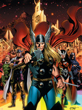 Thor No.82 Cover: Thor, Sif, Balder, Volstagg, Fandrul, Hogun and Warriors Three Plastic Sign by Steve Epting