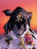 Warriors Three No.4 Cover: Volstaag, Hogun and Fandral Fighting a Wolf in the Snow Plastic Sign by Amanda Conner