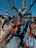 Amazing Spider-Man No.512 Cover: Spider-Man and Stacy Twins Fighting and Flying Plastikskilte af Mike Deodato