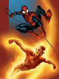 Ultimate Spider-Man No.69 Cover: Spider-Man and Human Torch Plastic Sign by Mark Bagley